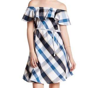 Joe Fresh Blue and White Off Shoulder Dress